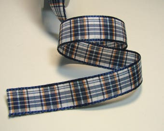 Plaid Ribbon, 15 mm, white, blue, orange, Navy Blue, sold by the yard border.