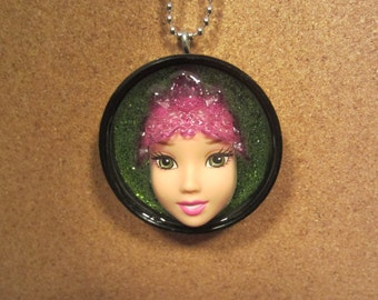 Upcycled Doll Pendant- Green Eyed Queen