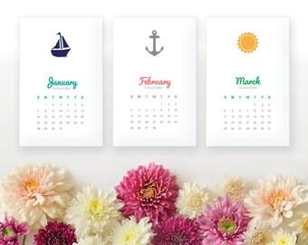 2018 Printable Monthly Calendar - Nautical Wall Calendar, Desk Calendar - Home Organizing - 2018 Instant Download Calendar