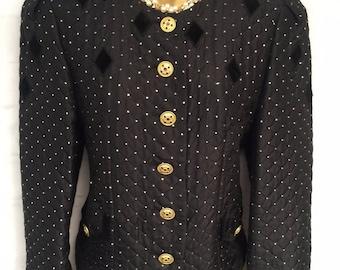 Vintage 80's Basler Black Silk Mix Slightly Quilted Evening Jacket Size 34 UK10