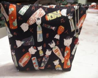 Kitty Kokeshia Make-Up Bag with Alexander Henry fabric