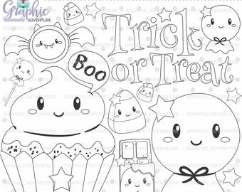 75%OFF - Halloween Stamps, Ghost Stamps, Digi Stamp, Digital Stamps, Halloween Coloring Page, COMMERCIAL USE, Halloween Digistamp, Clipart