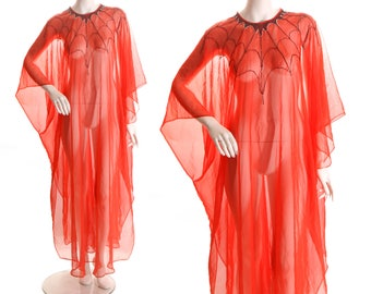 Late 1960s Early 1970s Novelty Hand Beaded Spiderweb Detailed Neckline Sheer Red Chiffon Halloween Caftan