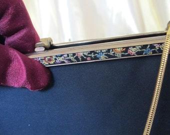 Vintage Black Clutch Purse w/Needlepoint Detail