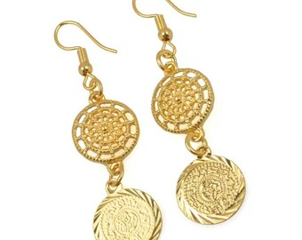 Gold coin earrings, coin earrings, traditional earrings, ethnic earrings, boho earrings, bollywood earrings, Indian earrings, Indian jewelry