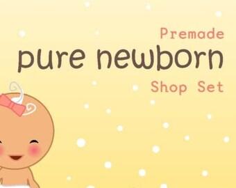 Illustrated Premade Etsy Shop banner Set -  Pure Newborn