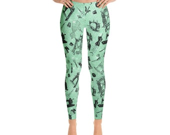 All Over Vintage Sewing Machines Hand Crank Treadle Notions on Green Misses' Women's Leggings  XS S M L XL