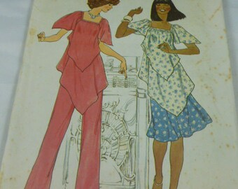 7761 Simplicity Two Sizes 6 & 8 Contemporary Fashion Misses Pullover Tunic Skirt Pants 1976 Vintage Uncut