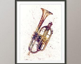 Cornet, Abstract Watercolor Music Instrument Art Print (2513)