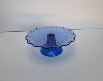 Vintage Cake Plate Stand Blue Glass Pedestal Scalloped