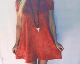 Tie Dye Dress / Geometric Back Cut Out / Red Texture / One Of A Kind Dress / Boho Clothing / Handmade Style