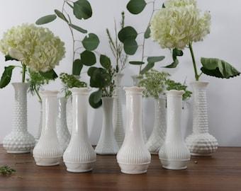 Vintage White Milk Glass hobnail Vases E.O. Brody Milk Glass Bud Vase Hobnail Pattern set of two white decor spring vases gift for her