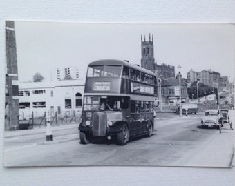 Photo of Old Bus Eastgate, Leeds Yorkshire, Vintage Transport Picture Old Advertising.