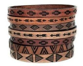 Boho Leather Bangles - Tribal Design