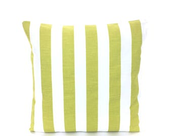 Decorative Lime Green Throw Pillow Cushion Cover ALL SIZES Citrus /Green White Stripe Couch Sofa Bed Pillow Home Decor Accent Pillow Sham
