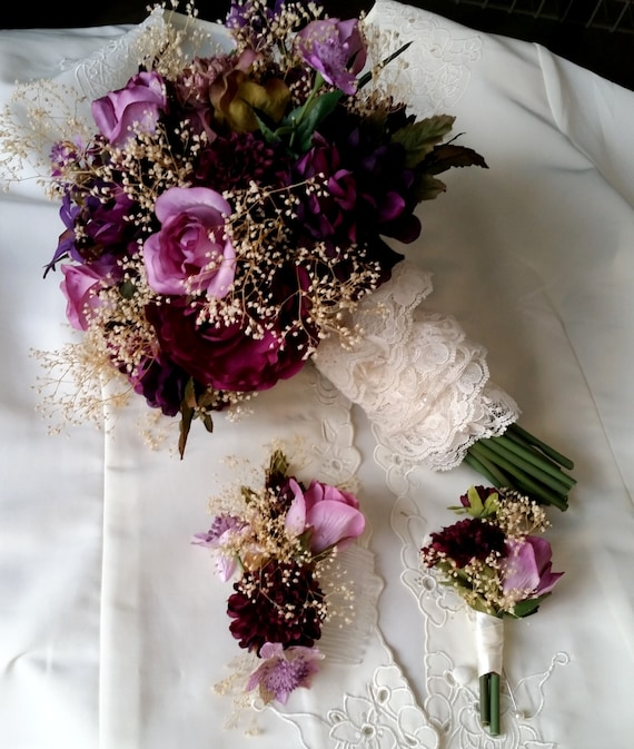 Wedding Bouquets Not Flowers: Wedding Flowers Plum Purple 3 Piece Set Bridal Dried Floral