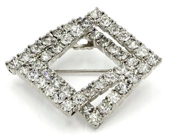 Two intertwined Squares Rhinestone Pin