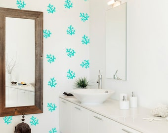 Coral Pattern Wall Decals, Ocean Wall Stickers, Removable