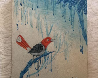 Vintage Bird Painting on Handmade Canvas 8.5 x 10 inches