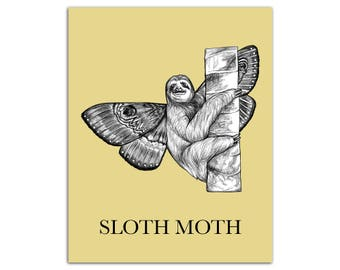 "Sloth Moth 8x10"" High Quality Color Print, Sloth + Moth Hybrid Animal, Cute Wall Art, Office Décor, Zootopia, Whatif Creations, Portland, OR"