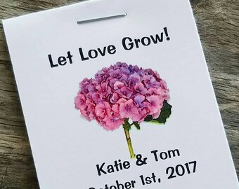 Mini Pink or Blue Hydrangea Design Flower Seed Favors - Bridal Shower Favors - Wedding Favors Personalized Shabby Chic Seed Packets
