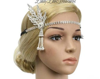 Great Gatsby Headpiece, Vintage style Great Gatsby Headpiece, Gatsy Headband, Art Deco, 1920's Flapper Headpiece, Wedding Headpiece