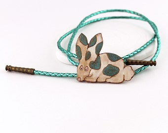 Rabbit Necklace - Bunny Bolo, Vintage Handpainted Wood Clasp, Iridescent Blue Green Braided Cord, Brass End Caps, Polka Dot Animal