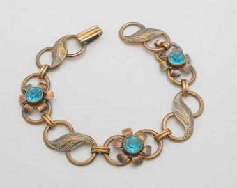 Vintage Van Dell Gold Filled Over Sterling Silver Floral Blue Stone Link Bracelet