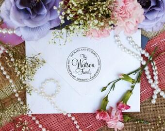 Custom Personalized Return Address Stamp, Rubber Wood Mount Clear Block Stamper, Fancy Monogram Address Stamp, Self Inking, Ink Pad --2424
