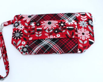 Wristlet Wallet - iPhone Plus - Large Wristlet Clutch with hand strap and removable wrist strap - EDC Wristlet - EDC Wallet - Red floral