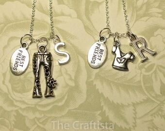 2 Best Friend Necklaces -- 2 Friendship Necklaces --  Jeans and Shirt Necklace -- 2 Sisters Necklace -- Bridesmaid Necklace -Fashion Diva