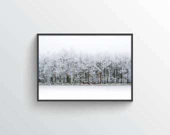 Frosty Forest Winter Landscape - Digital Print - Wall Art - Mountains - Snow - Scandinavian - Minimal - Minimalist - Trees