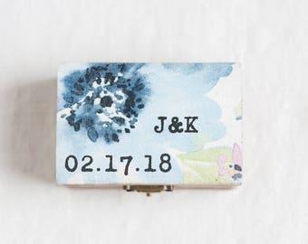 Wedding Ring Box, Rustic Ring Bearer Box, Ring Holder, Watercolor Ring Box, Ring Box Wedding, Personalized Ring Box, Custom Wooden Ring Box