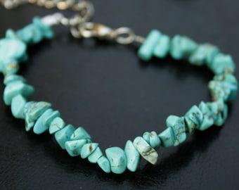 Blue delicate turquoise bracelet boho bridal bracelet turquoise stone bracelet for mom simple beaded bracelet blue stone bracelet
