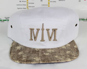 """Come Correct! White Cork 416 5ive Panel Hats! The Roman Numerals Stand For """"416"""", With The """"1"""" Resembling The CN Tower! YYZ, GTA, ovo, Drake"""