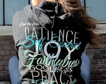 Fruit Of The Spirit Zip Up Hoodie- Black w/Jade | Christian Zip Up Hoodie | Women's Hoodie | Christian Jacket | Glitter Christian Jacket