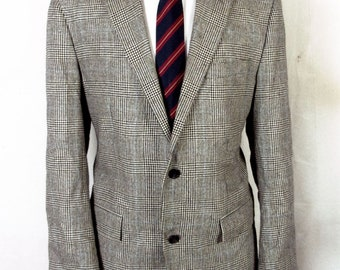 euc American Living Gray Glen Plaid Wool Silk Tweed Blazer Sportcoat sz 40 R