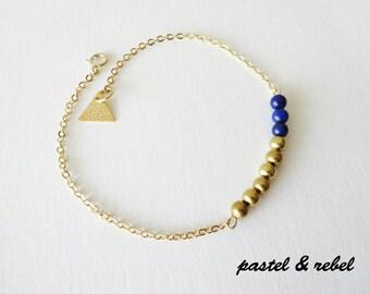 Night Blue Lapis Gold filled bracelet