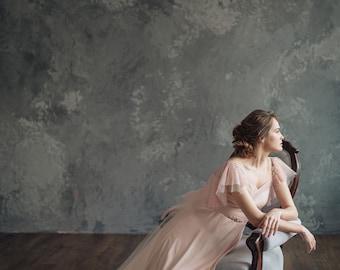 Blush pink wedding dress - Mirtselia || Pink wedding dress || Pink wedding gown
