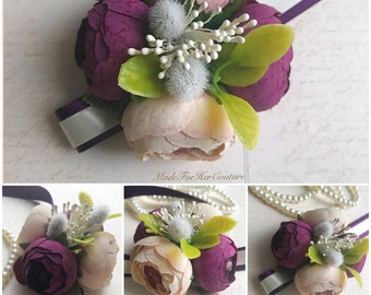 Rustic PlumCorsages, Wrist Flower, Wrist Corsage, Wedding Corsage, plum ivory Corsage, Rustic Corsage, Wedding Wrist Band, Wedding