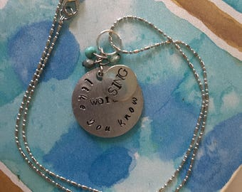Hand-Stamped Music Gift, Music Lover's Necklace, Gift for Singer, Inspirational Quote