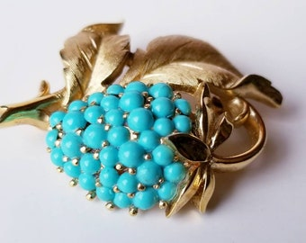 Vintage Crown Trifari with Goldtone Leaves and Faux Turquoise Berries - Strawberry