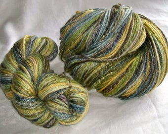 2 skein 8.1 oz 500 yds SW Merino 80/20 Spring to Fall Green Mix Yarn hand dyed hand spun HSY32