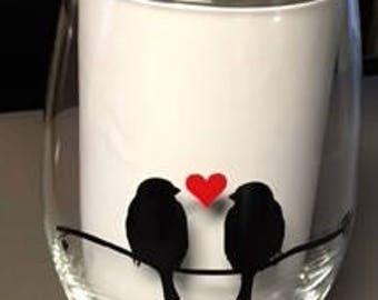 Stemless Wine Glass, Love Birds, Valentine Gift Ideas
