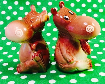 Norcrest Anthropomorphic Hippo Couple Salt and Pepper Shakers made in Japan circa 1950s