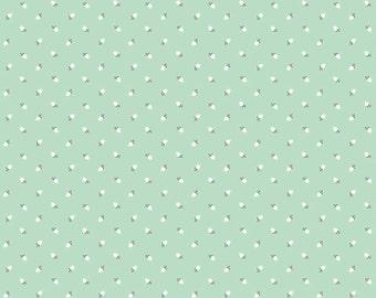 Mint Rosebud Fabric, Riley Blake Sew Charming C4546 Mint, Bo Bunny, Mint Rosebuds Quilt Fabric, Mint With White Rosebuds, Cotton