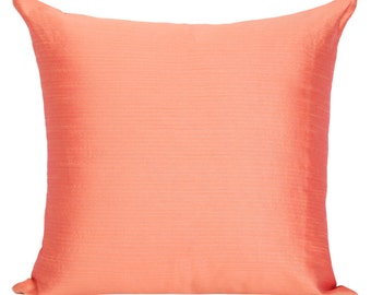 Set of 2 Solid Salmon Pillow Cover and Euro Sham Covers Plain Salmon Pillow Decorative Pillow Salmon Accent Pillow  Salmon Throws Pillows