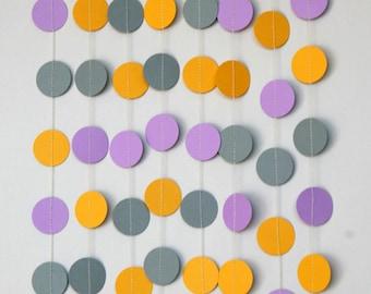 Purple Gray Yellow garland, Yellow Purple Wedding, Purple yellow Baby Shower, Birthday Party Decor, Wedding decoration, KC-1037