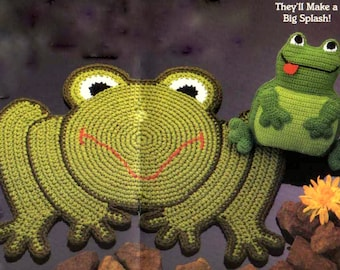 INSTANT DOWNLOAD PDF Vintage Crochet Pattern  Frog Rug Mat and Cushion Pillow or Toy plus other patterns
