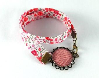 Bracelet double liberty pattern waves Japanese Red